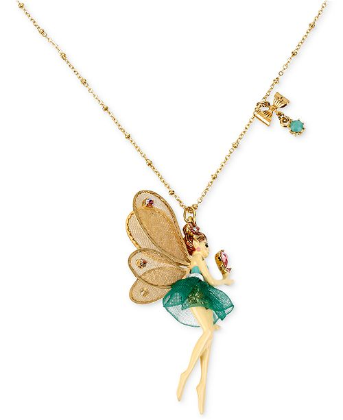 Betsey johnson antique gold tone fairy and bow pendant necklace main image main image aloadofball Image collections