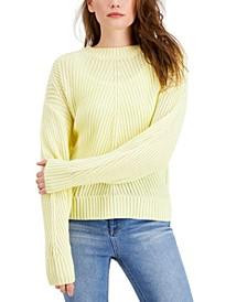 Juniors' Ribbed Crew-Neck Sweater