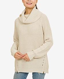 Hippie Rose Juniors' Cowl-Neck Zip-Detail Sweater