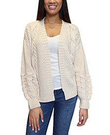 Juniors' Mixed-Knit Bubble-Sleeve Cardigan