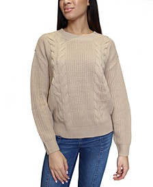 Juniors' Open-Back Cable-Knit Sweater