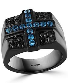 EFFY® Men's London Blue Topaz (5/8 ct. t.w.) & Black Spinel Cross Ring in Black PVD over Sterling Silver