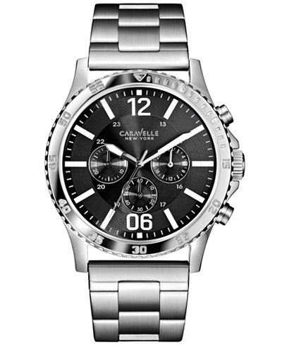 caravelle new york by bulova men s chronograph stainless steel caravelle new york by bulova men s chronograph stainless steel bracelet watch 44mm 43a115