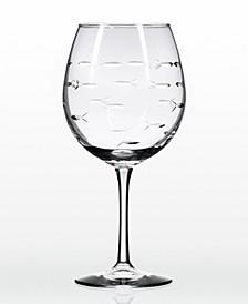 School Of Fish Balloon Wine 18Oz - Set Of 4 Glasses