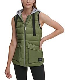 Cargo Pocket Hooded Puffer Vest