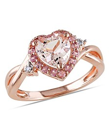 Morganite Pink Tourmaline and Diamond Accent Heart Ring
