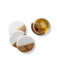 Personalized Marble Acacia Coasters