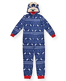 Big Boy's Fair Isle Print Minky Fleece Onesie with Novelty Reindeer Hood
