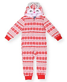Toddler Girl's Fair Isle Minky Onesie and Novelty Fleece Hood