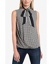 Women's Short Sleeve Fold Over Tie Neck Blouse