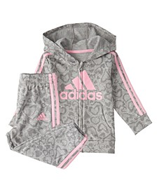 Baby Girls Zip Front Leo Print French Terry Hooded Jacket & Jogger Set