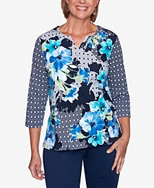 Women's Plus Size Vacation Mode Floral Diamond Patchwork Top