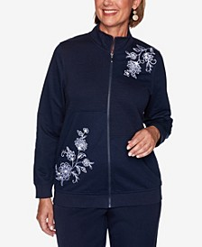Women's Plus Size Vacation Mode Scroll Floral Quilt Embroidered Jacket