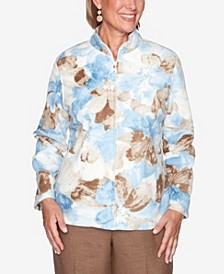 Women's Plus Size Dover Cliffs Watercolor Floral Polar Fleece Jacket