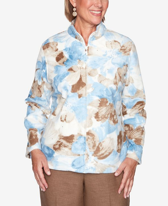 Alfred Dunner Women's Plus Size Dover Cliffs Watercolor Floral Polar Fleece Jacket