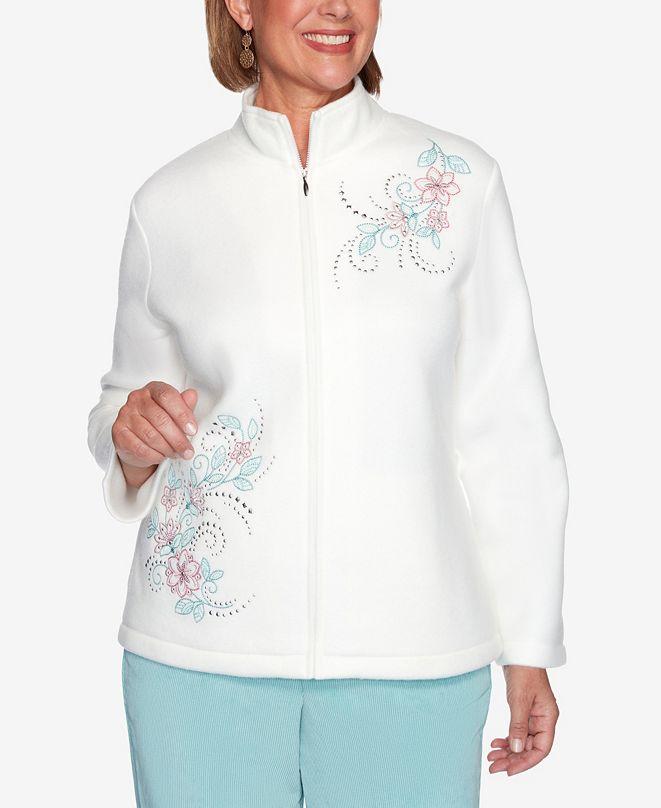 Alfred Dunner Women's Plus Size St. Moritz Asymmetric Floral Embroidery Polar Fleece Jacket
