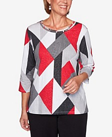 Women's Plus Size Knightsbridge Station Textured Diamond Print Top