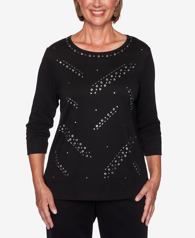 Alfred Dunner Women's Plus Size Modern Living Grommet Layering Top