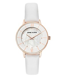White Genuine Leather Strap Watch 32mm