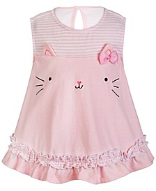 Baby Girls Pink Cat Cotton Sunsuit, Created for Macy's