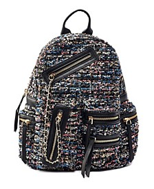 Distorted Print Weave Backpack with Chain Bellishments