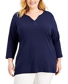 Plus Size Cotton Split-Neck Top, Created for Macy's