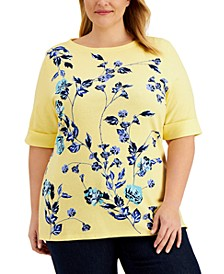 Plus Size Printed Elbow-Sleeve Top, Created for Macy's