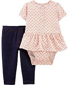 Baby Girls 2-Piece Peplum Bodysuit Pant Set