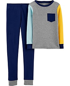 Big Boys 2-Piece Colorblock Snug Fit Cotton PJs