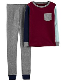 Big Boys 2-Piece Colorblock Snug Fit Cotton PJs