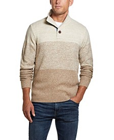 Men's Button Mock Ombre Sweater