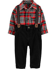Baby Boys Plaid Shirt, Pants & Suspenders Set
