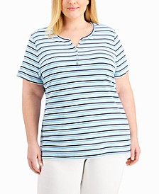 Plus Size Striped Henley Top, Created for Macy's