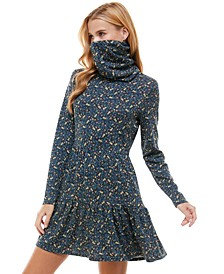 Juniors' Printed Tiered Dress & Face Mask Scarf