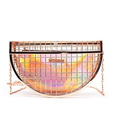 Jupiter Caged Crescent Hologram Evening Clutch