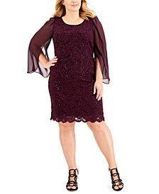Plus Size Lace Chiffon-Sleeve Sheath Dress