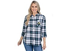 UG Apparel Notre Dame Fighting Irish Women's Flannel Boyfriend Plaid Button Up Shirt
