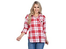 UG Apparel Georgia Bulldogs Women's Flannel Boyfriend Plaid Button Up Shirt