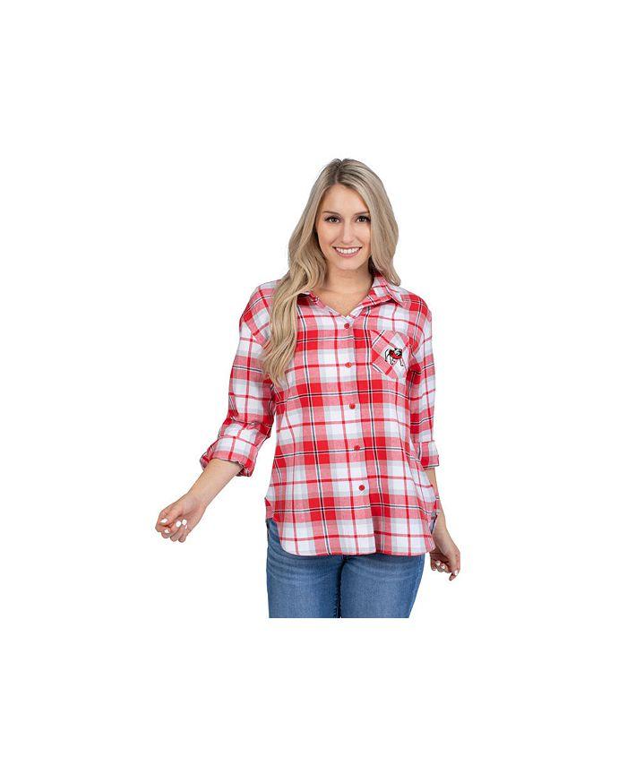Lids - Georgia Bulldogs Women's Flannel Boyfriend Plaid Button Up Shirt