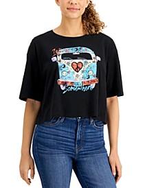 Juniors' Cotton Cropped Retro-Graphic T-Shirt