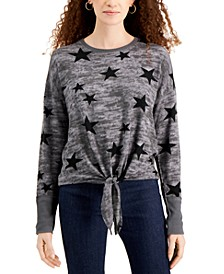 Juniors' Star-Print Tie-Front Top
