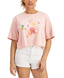 Juniors' Cotton Cropped Graphic T-Shirt
