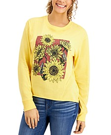 Juniors' Sunflower-Graphic T-Shirt