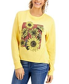 Juniors' Sunflower-Graphic T-Shirt