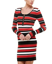 Juniors' Striped Bodycon Sweater Dress