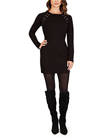 Juniors' Grommet-Trim Bodycon Dress