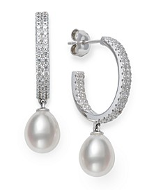 Cultured Freshwater Pearl 8-9mm and Cubic Zirconia Drop Earrings in Sterling Silver