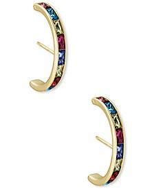 14k Gold-Plated Multicolor Baguette-Cut Nano Gem Statement Stud Earrings
