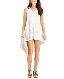 Textured Button-Front Cover-Up Dress