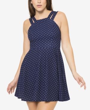 Juniors' Dot-Print Double-Strap A-Line Dress